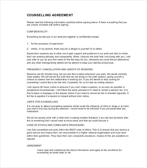 printable counselling contract