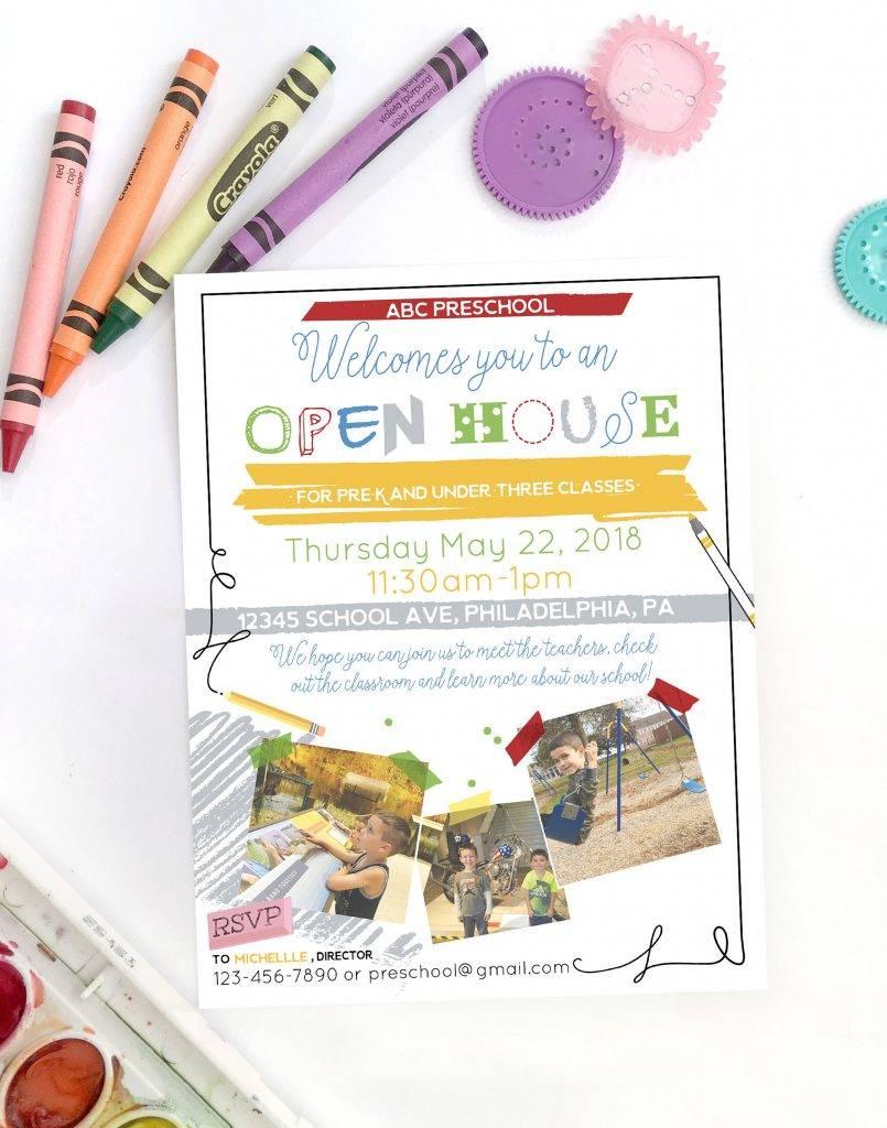 printable open house school event flyer