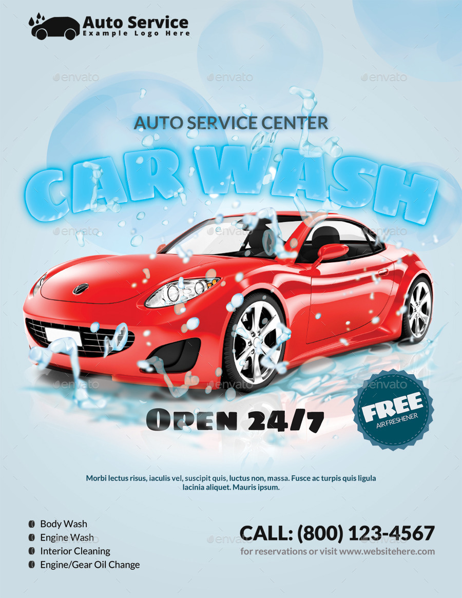professional and clean car wash business flyer