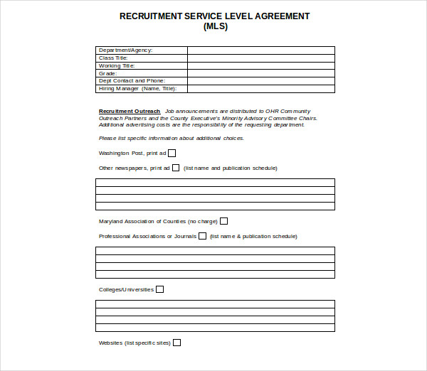 recruitment service level agreement