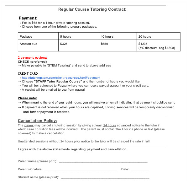 10  tutoring contract examples