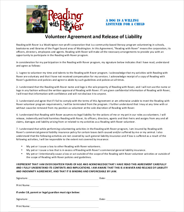 release of liability volunteer agreement