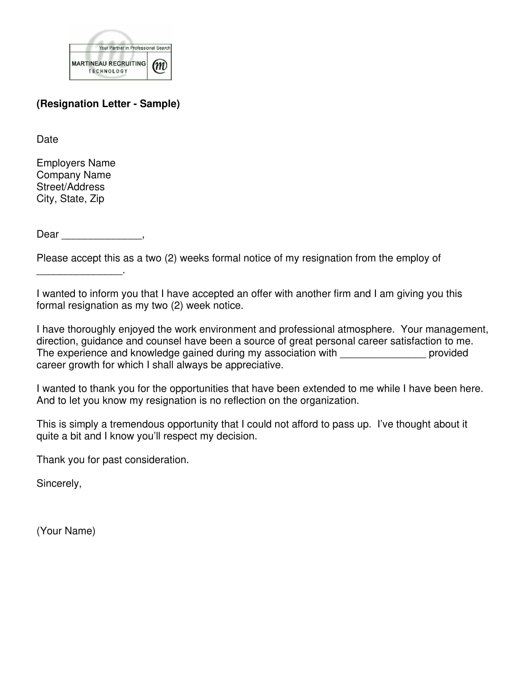 Delightful Simple Short Notice Resignation Letter Example