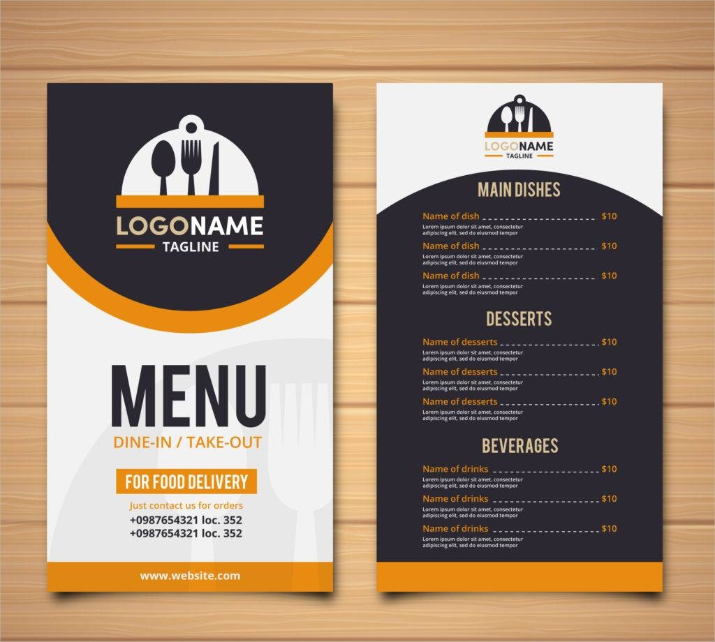 restaurant retro menu free vector