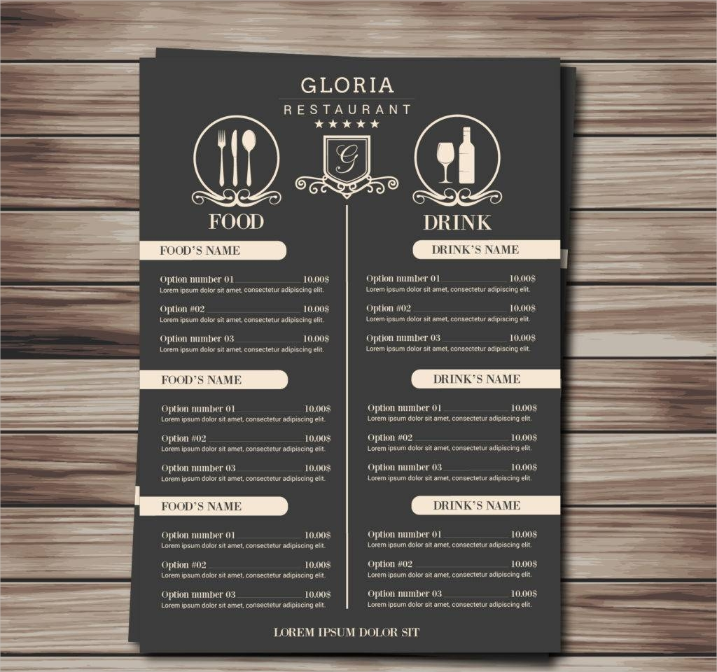 retro menu free vector