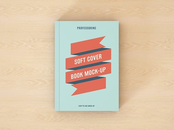 ribbon soft book mock up cover design