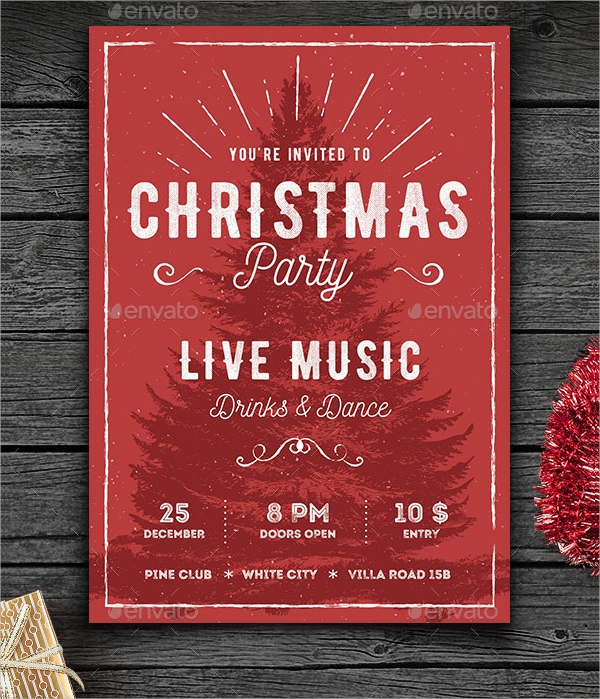 rustic christmas event flyer