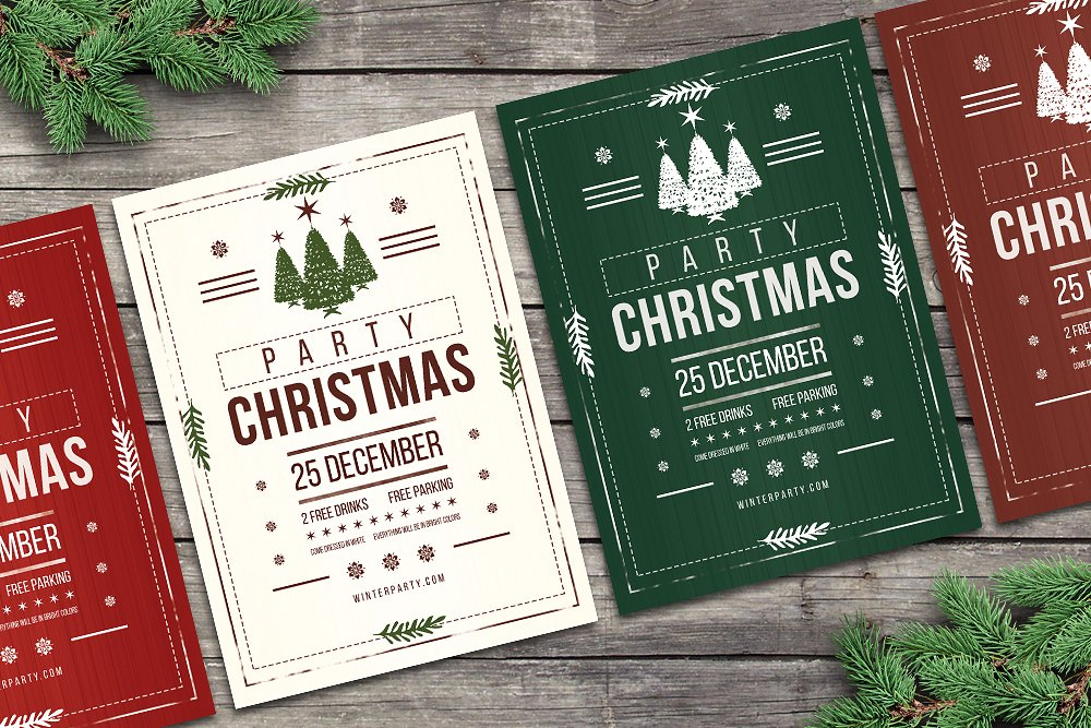 rustic christmas party flyers