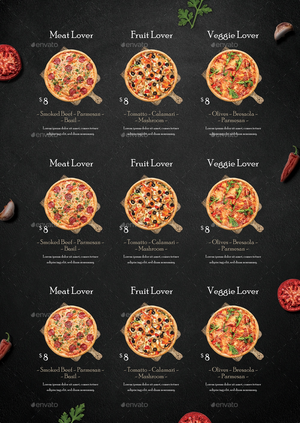 rustic pizza menu flyer