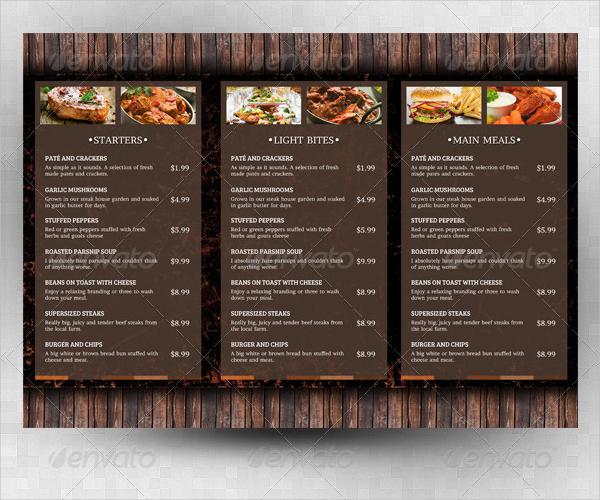 rustic takeaway menu template