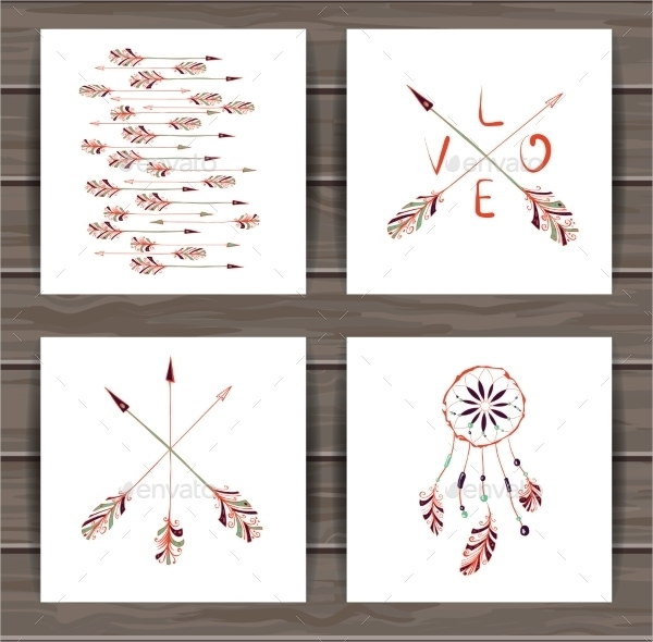 rustic valentines day cards with dream catcher and arrows