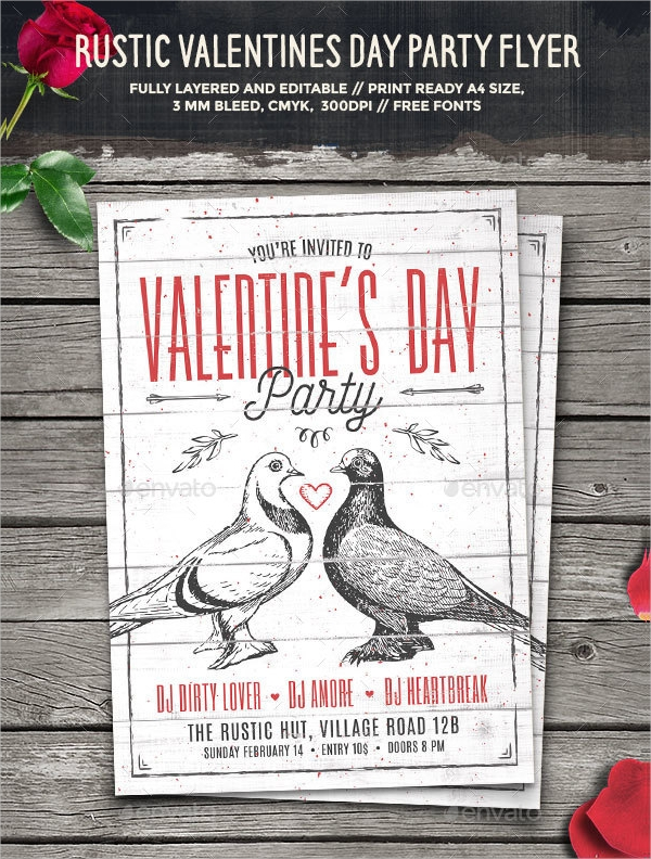 rustic valentines day party flyer