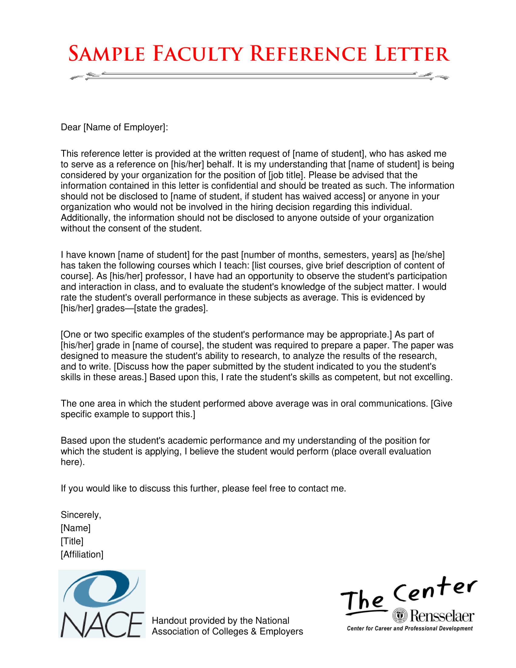 sample faculty reference letter 1