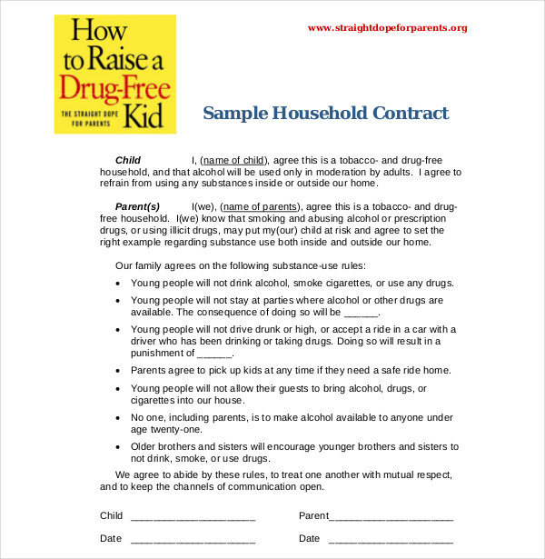 sample household contract