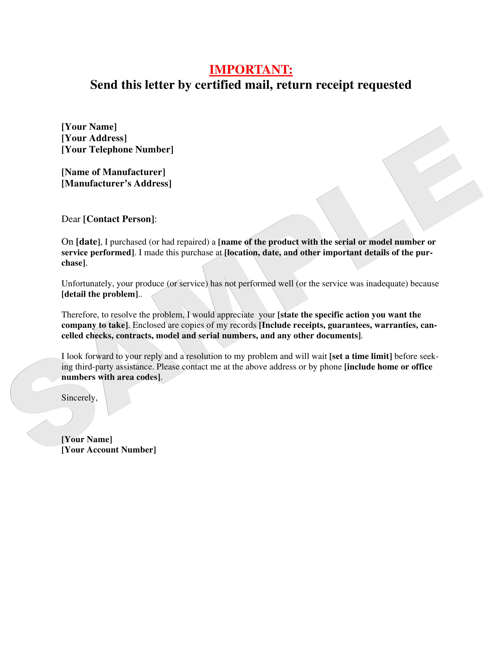 sample letter warranty complaint 1