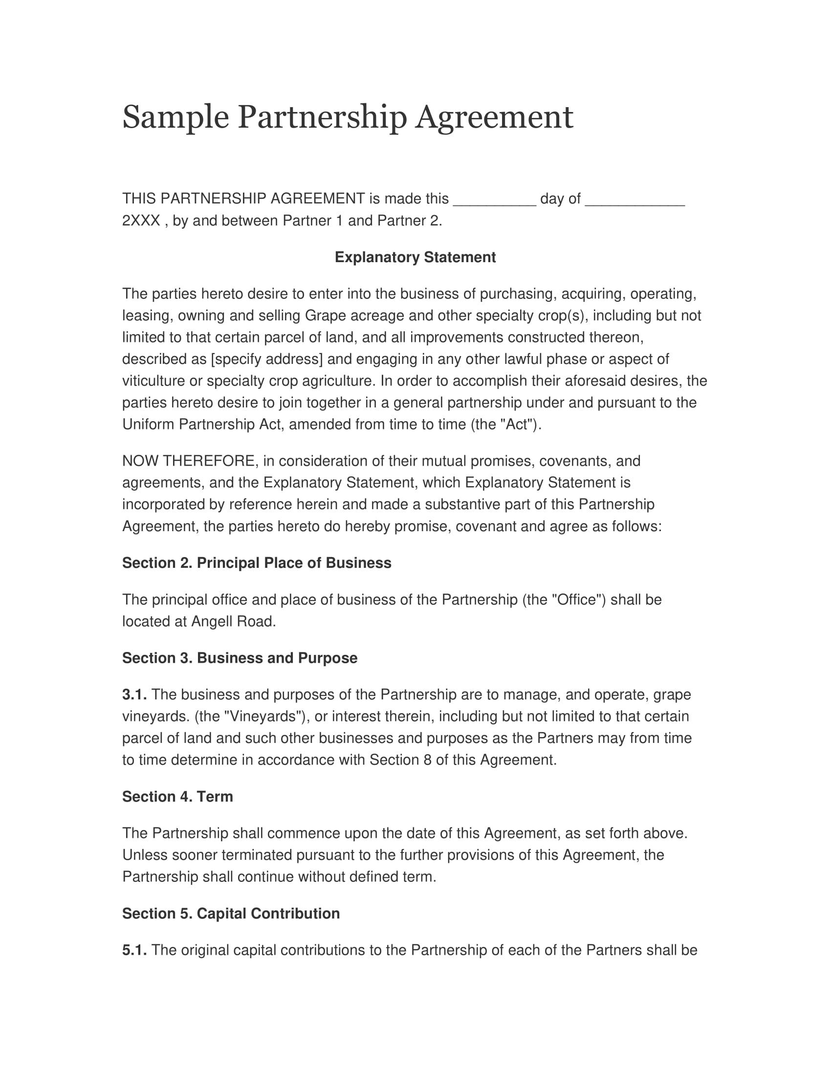 sample partnership agreement 011