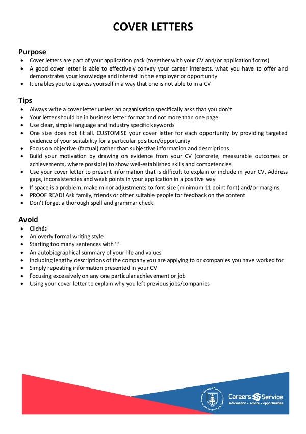 sample simple cover letter