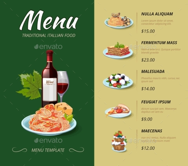 sample traditional italian pasta menu2