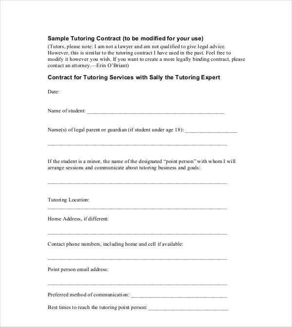 sample tutoring contract