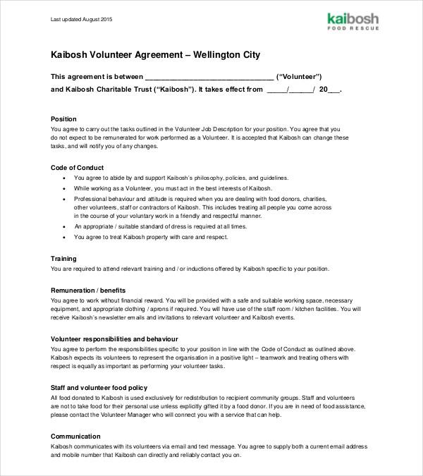 sample volunteer contract agreement