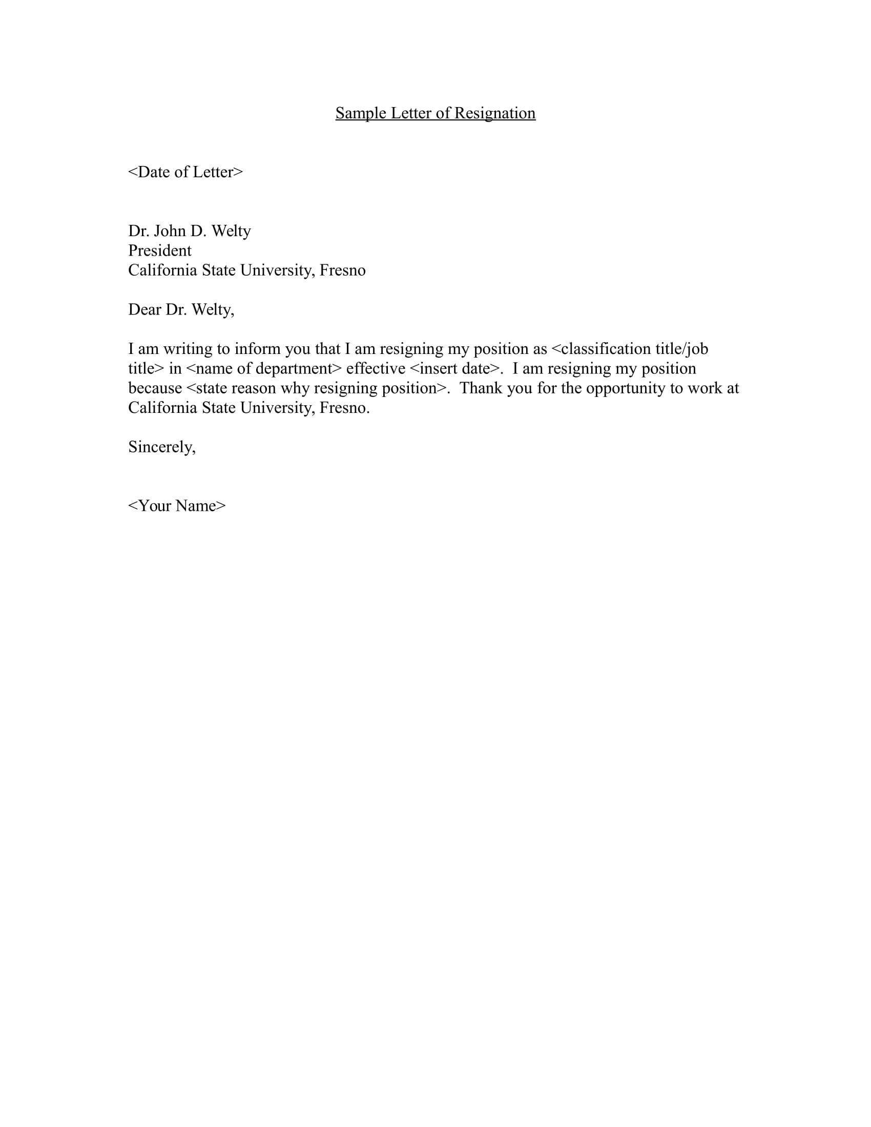 Faculty Sample Resignation Letter Example