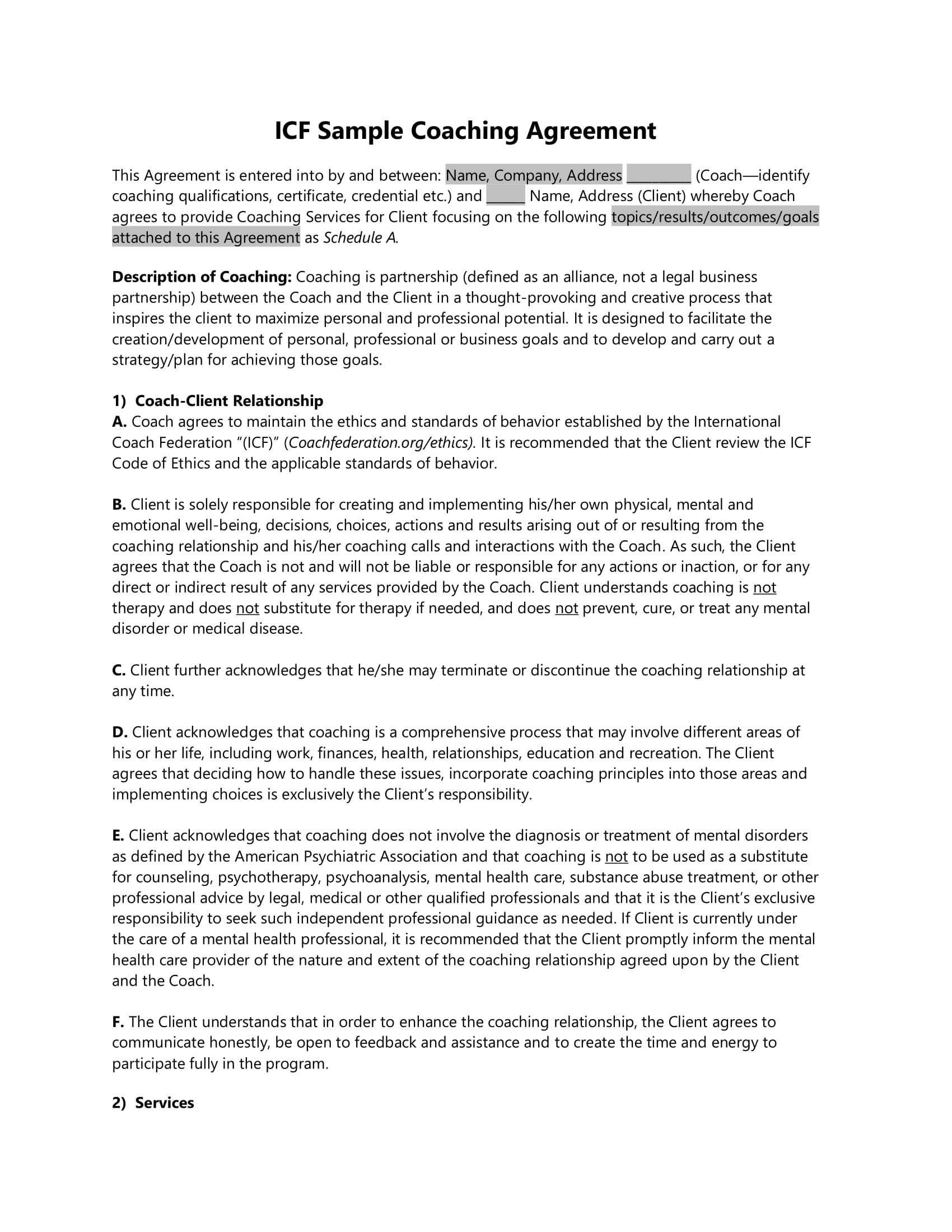 19 agreement templates and examples pdf for Coaching contracts templates
