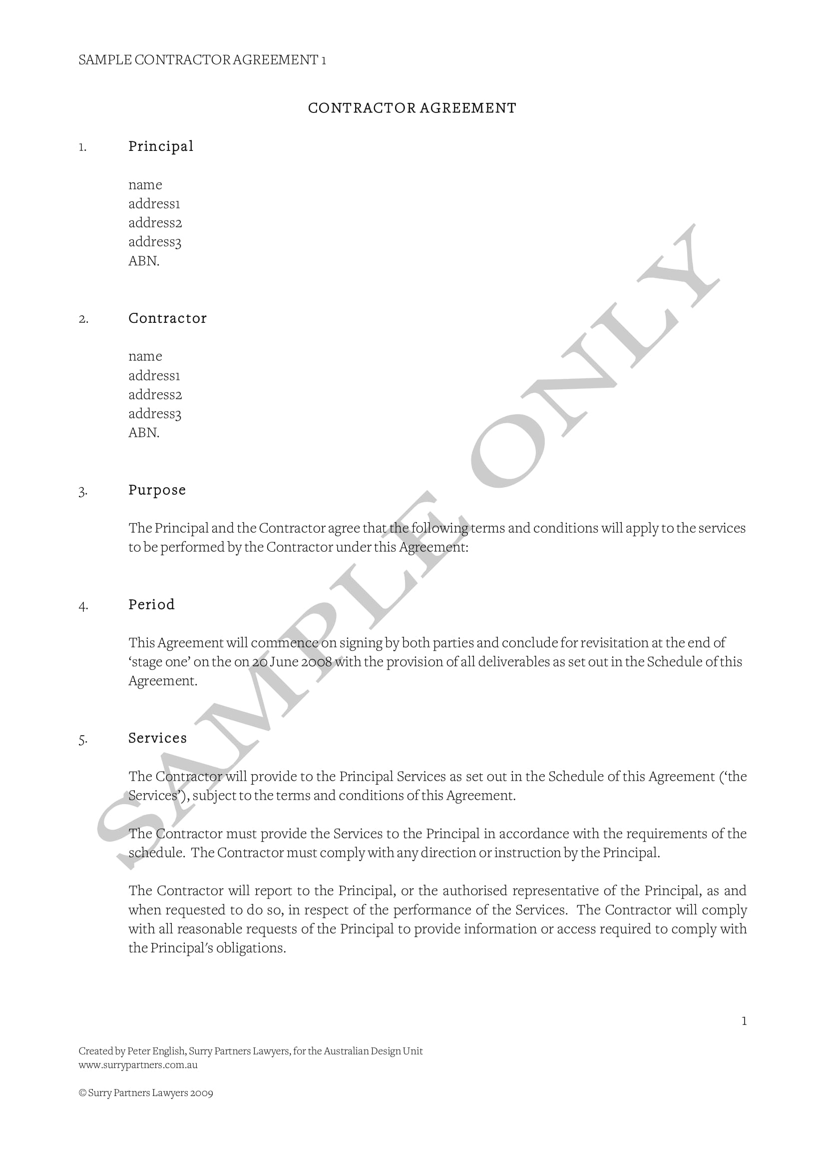 Contract Agreement Template Example
