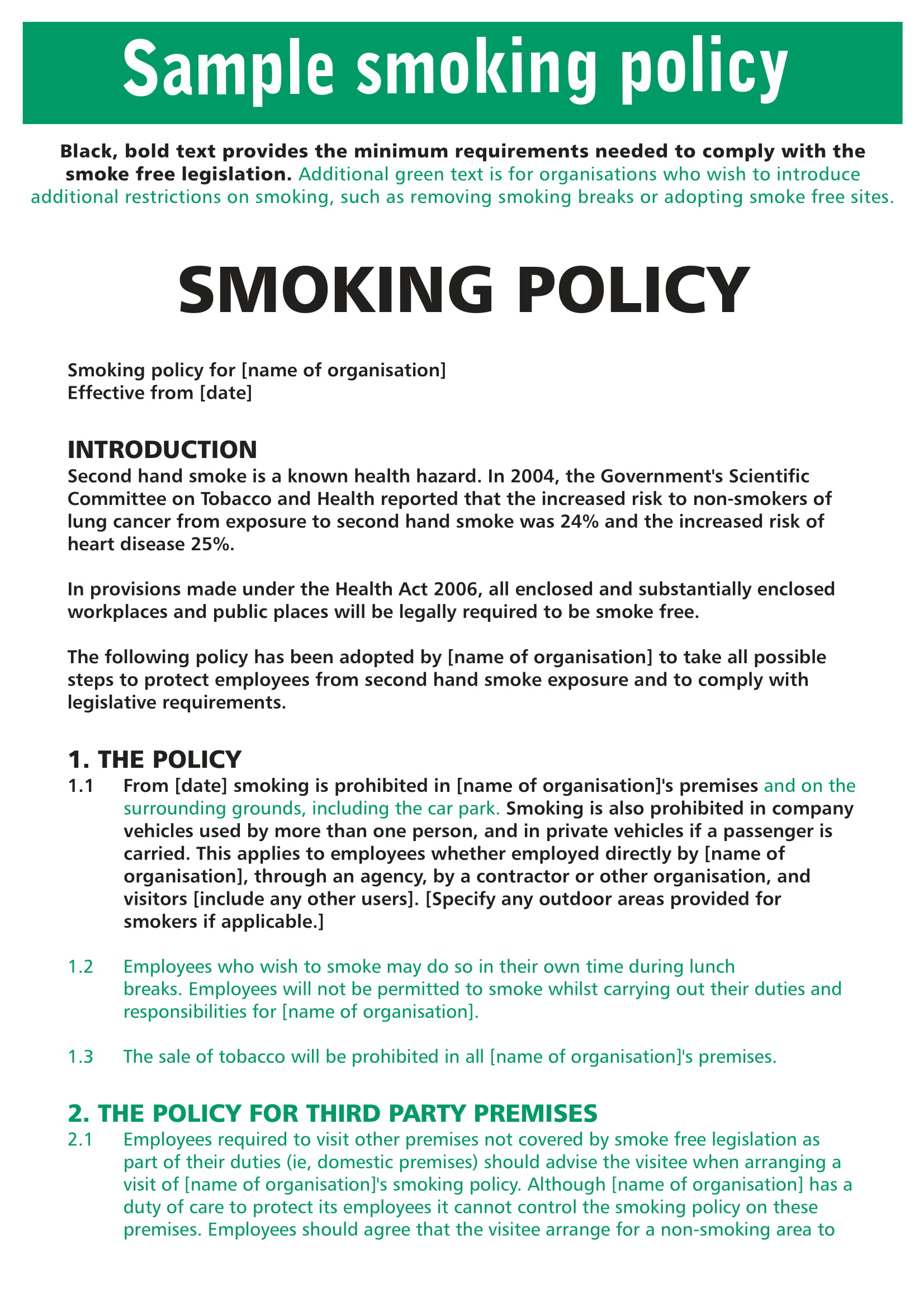 10  smoking policy examples