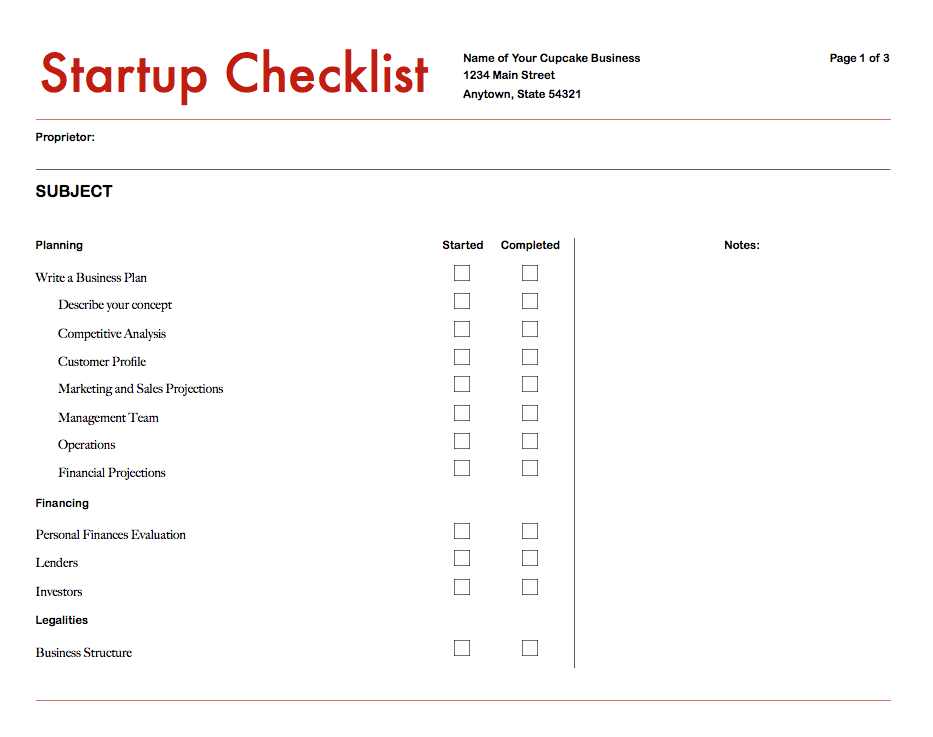 Business checklist examples pdf business startup checklist example wajeb Image collections