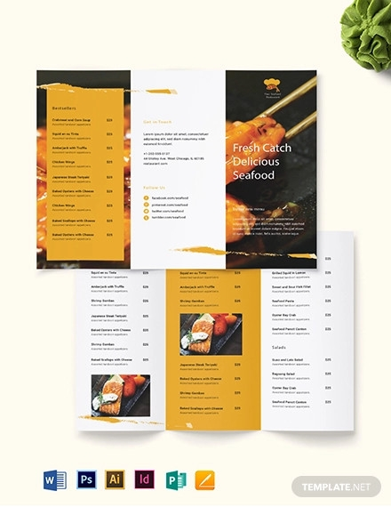 seafood restaurant takeout tri fold brochure template
