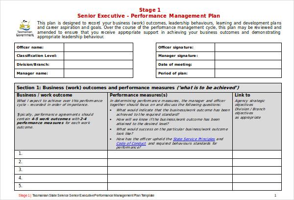 senior executive performance management plan