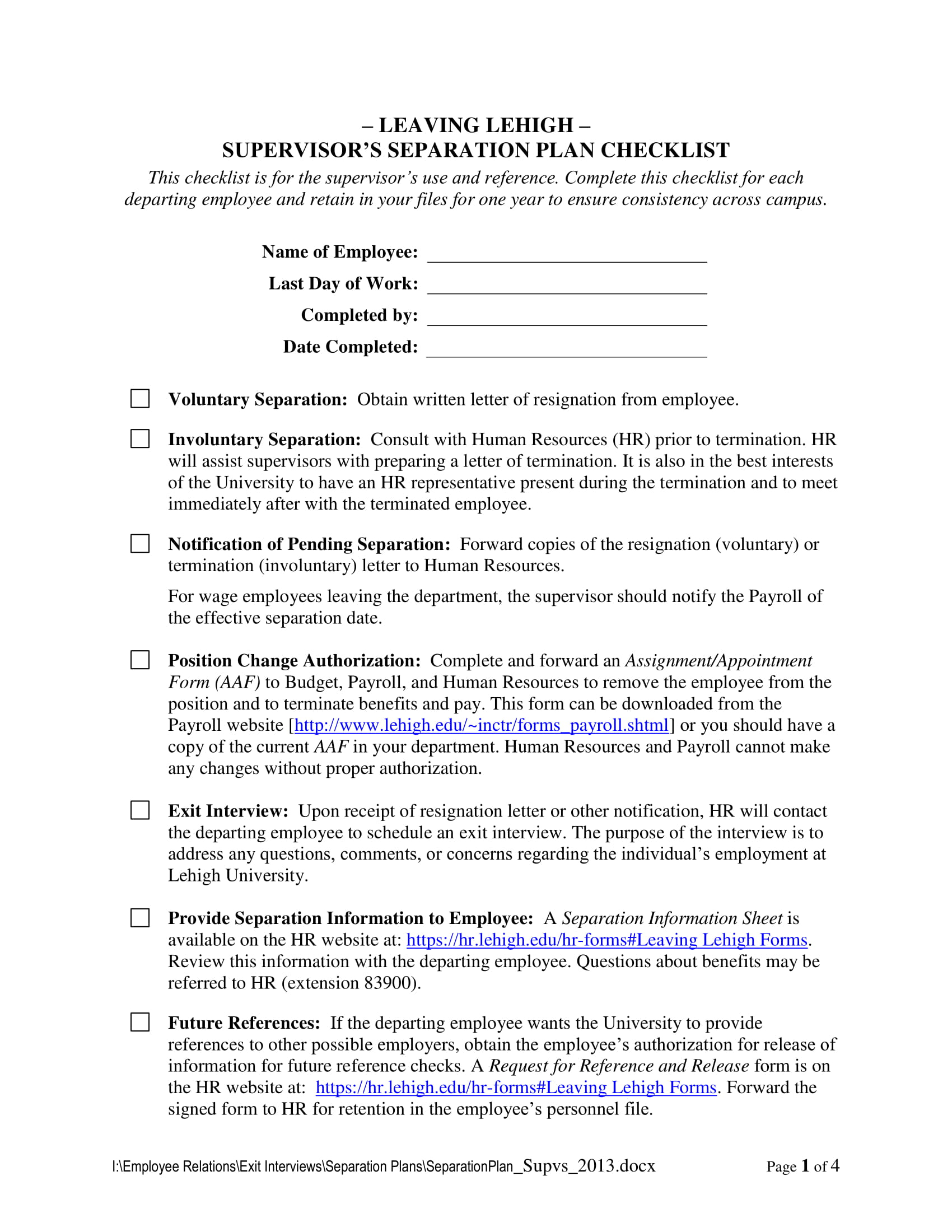 9 termination meeting checklist examples pdf