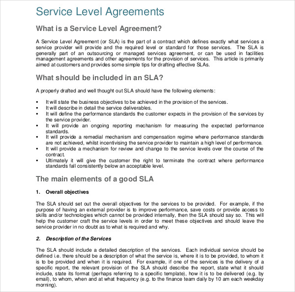 14 Service Level Agreement Examples Doc Pdf