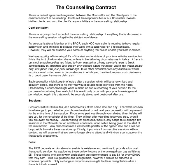 simple counselling contract