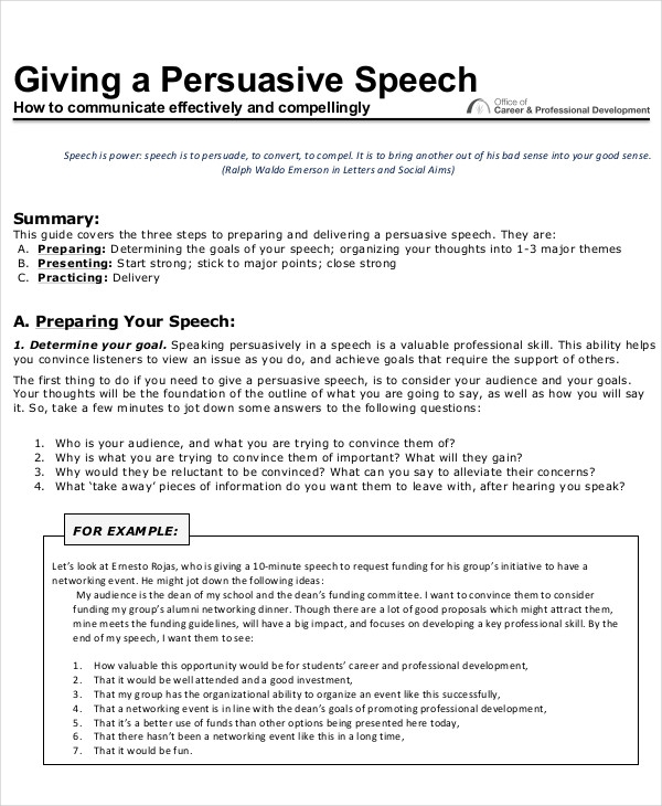 6 to 8 minute persuasive speech Follow the speech plan action steps to select your topic and prepare a eight to ten minute speech in which you attempt 6: the formal persuasive speech (8-10 minutes).