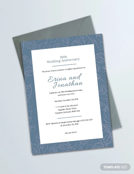simple wedding anniversary invitation card