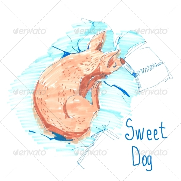 sleeping dog sketch greeting card