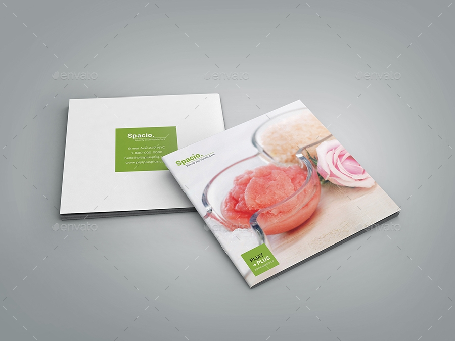 spa beauty health care square brochure and menu