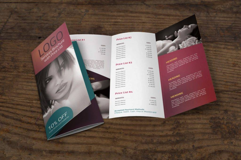 spa tri fold brochure template with price list