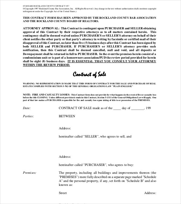 standard real estate contract