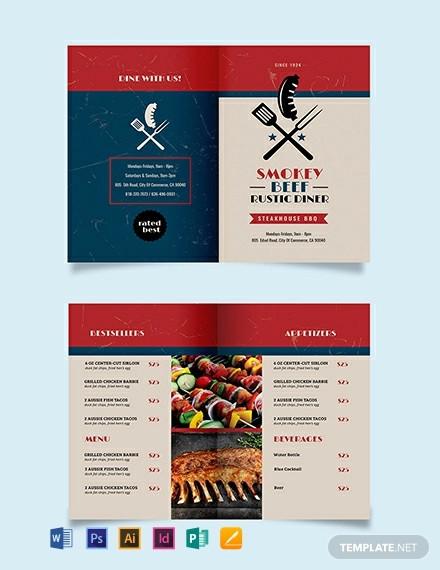 steakhouse bbq restaurant take out bi fold brochure template