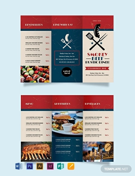steakhouse bbq restaurant take out trifold brochure template
