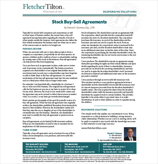 stock buy sell agreements