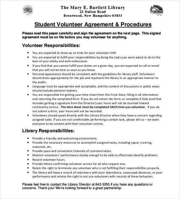 student volunteer agreement