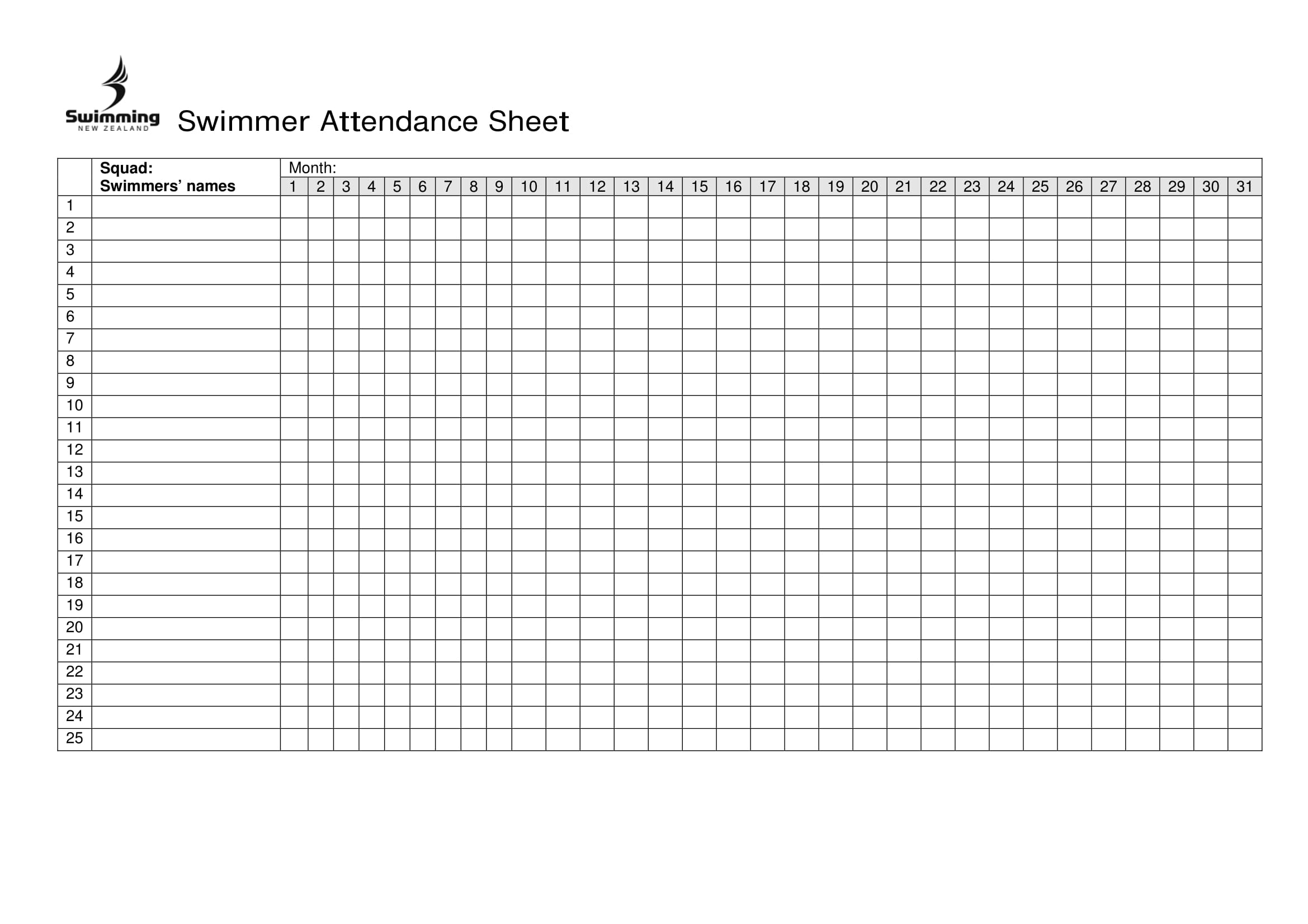 swimmer attendance sheet example