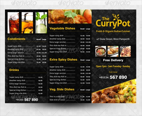 takeaway food menu tri fold brochure template