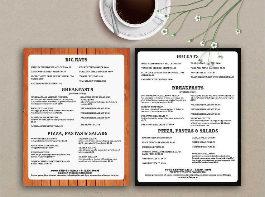 takeout menu design and template example