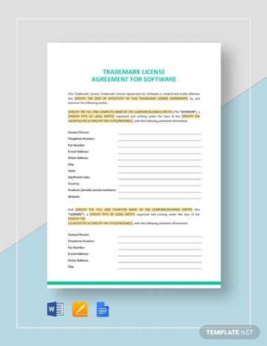 trademark license agreement for software template