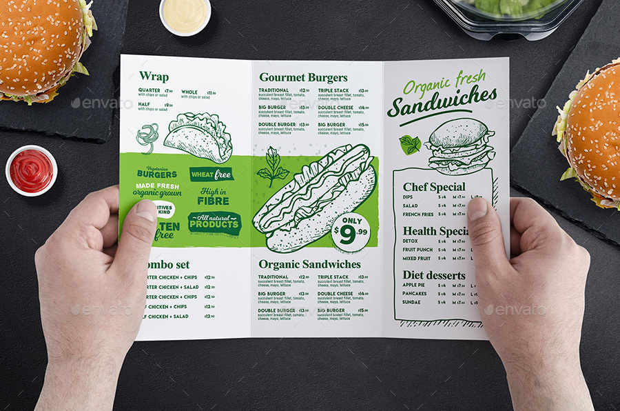 tri fold burger menu template