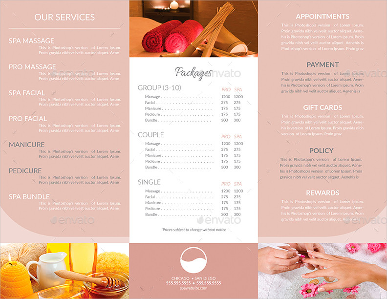 tri fold spa menu and business card template
